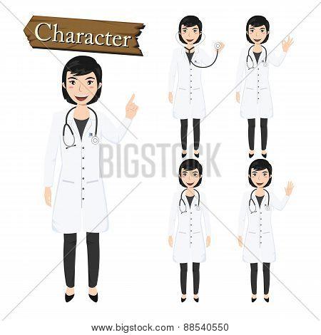 Doctor Character Set Vector Illustration