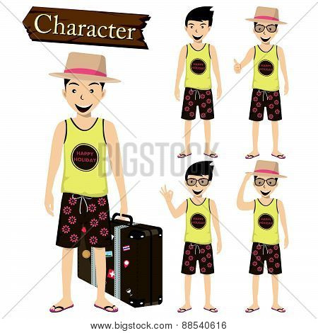 Traveler Character Set Vector Illustration