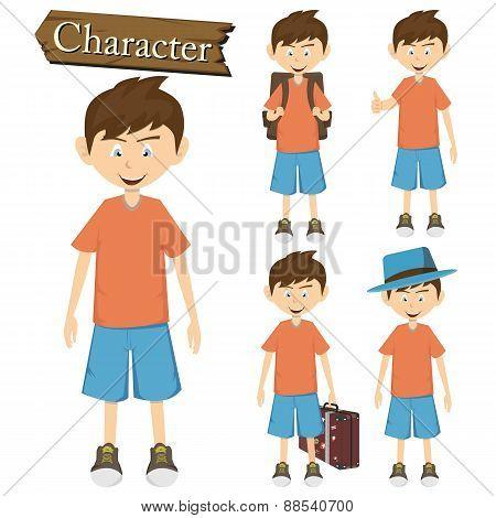 Boy Character Set Vector Illustration