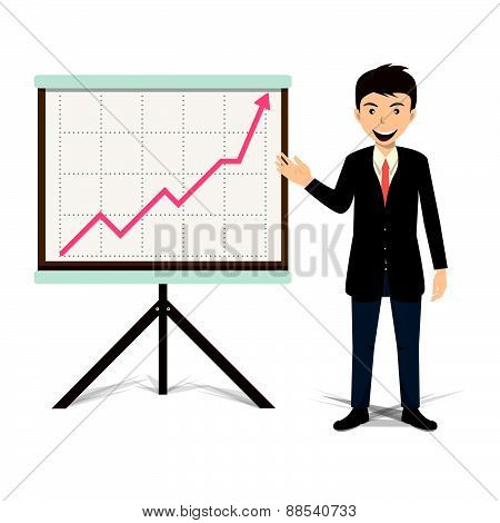 Businessman Present Growing Business Vector Illustration