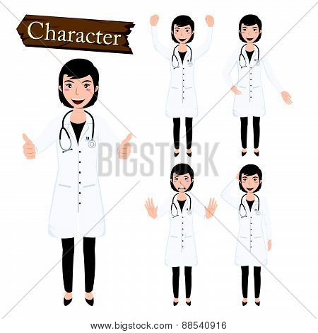 Doctor Character Set Vector Illustration