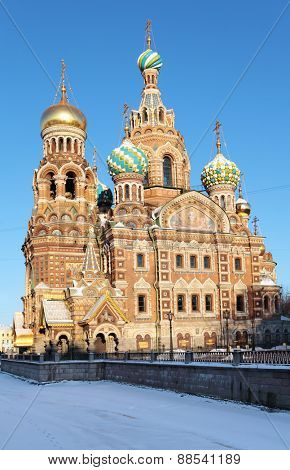 ST. PETERSBURG, RUSSIA - JANUARY 17, 2013: Church of the Savior on Spilled Blood in a winter day.The church was built in 1883-1907 on the site where Emperor Alexander II was assassinated