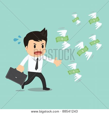 Businessman Run To Catch Fly Money Vector Illustration