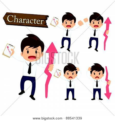 Businessman Character Present Growing And Present Descending Set Vector