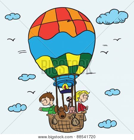 two kids, cat and dog in a balloon cartoon illustration