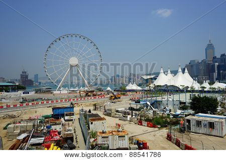 HONG KONG - APRIL 16, 2015: construction activity in Hong Kong. Hong Kong is a city on the southern coast of China at the Pearl River Estuary and the South China Sea