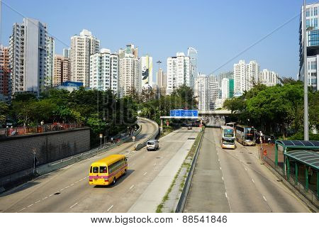 HONG KONG - APRIL 16, 2015: streets of Hong Kong. Hong Kong is a city on the southern coast of China at the Pearl River Estuary and the South China Sea