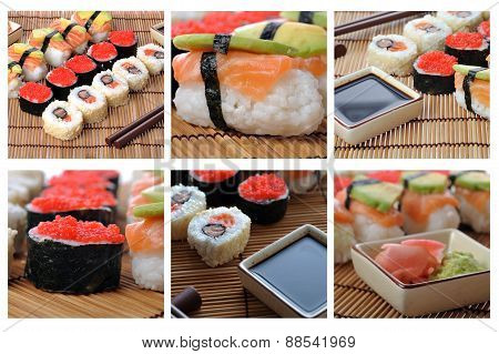 Colage With Japanese Sushi