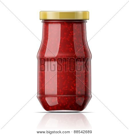 Jar with raspberry jam.