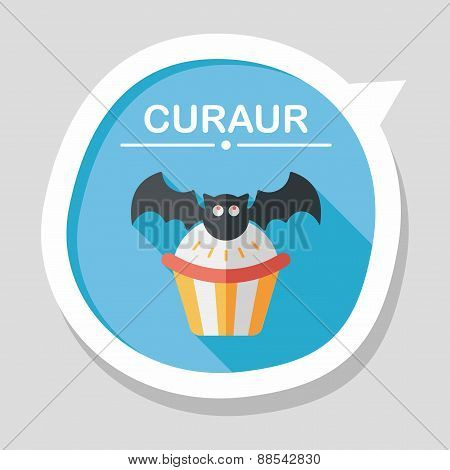 Halloween Cupcakes With Bat Flat Icon With Long Shadow,eps10