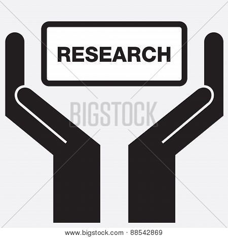 Hand showing research sign icon.