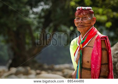 Shaman from the indigenous group of Santo Domingo de los Tsachilas, Ecuador