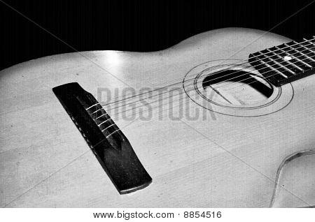 Detalle de la guitarra clásica. Antiguo instrumento