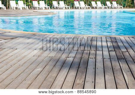 Wooden Floor Beside Swimming Pool