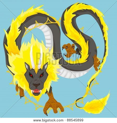 Chinese dragon of sun