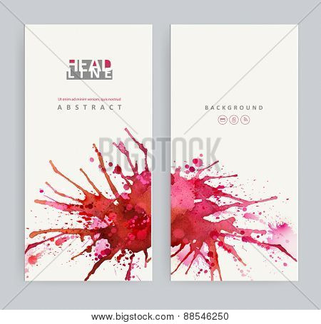 Two banners. Bright watercolor stains with red blots