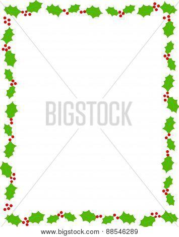 Holly Christmas Border / Frame On White Background