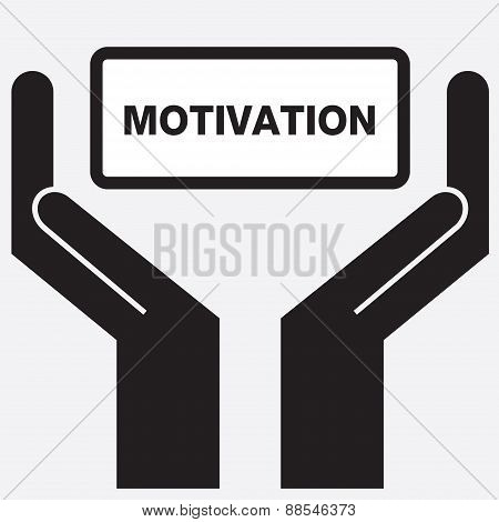 Hand showing motivation sign icon.