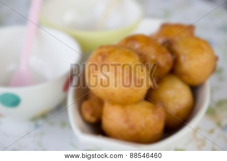 Blurry Defocused Batter Fried Banana For Background