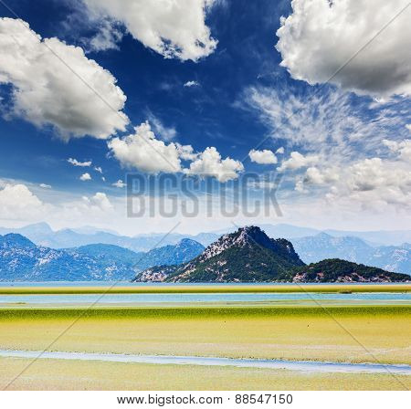 Fantastic view to mountains in the Skadar lake national park in Montenegro, Europe. Beauty world.