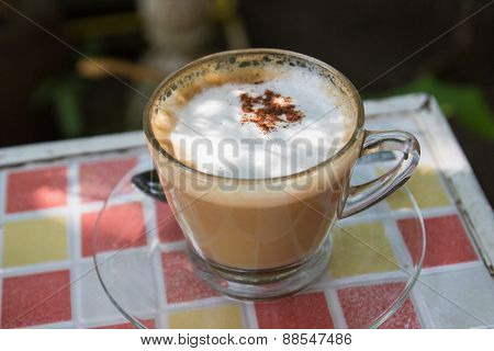 Hot Cappuccino Coffee With Cinnamon Topping