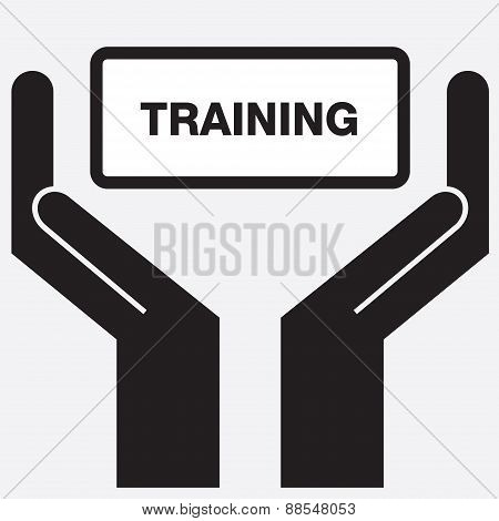 Hand showing free training sign icon.