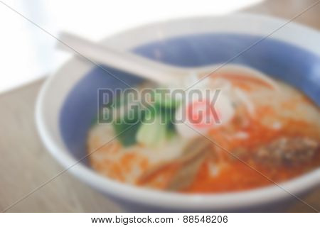 Blurry Defocused Spicy Japanese Noodle With Pork And Sesame For Background