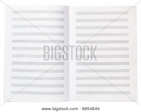 Blank Music Copy Book Note Sheet Opened