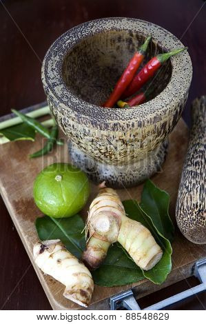 Chili In Mortar With Tomyum Ingredients