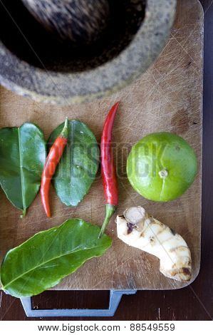 Fresh Ingredients On Wooden Board