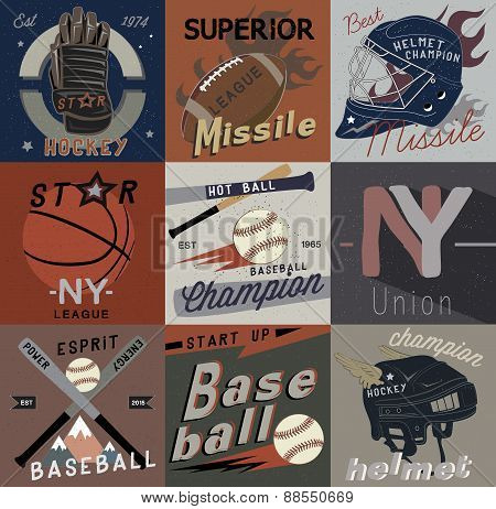 Set vintage of sports vector logos, labels and design elements.
