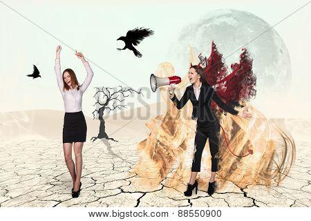 Devil screaming to loudspeaker on businesswoman