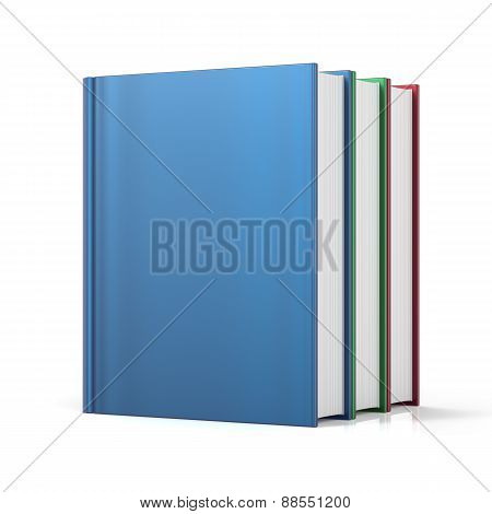 Books Three 3 Colorful Blank Cover No Labels