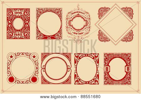 Retro cards templates set