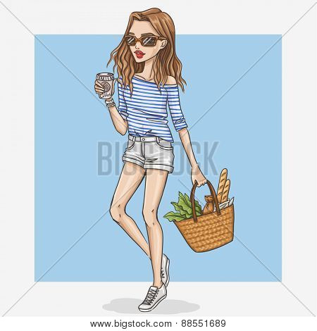 Hand drawn shopping girl illustration