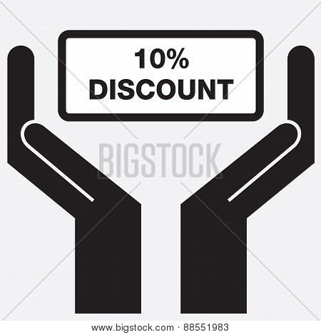 Hand showing 10 percent discount sign icon.