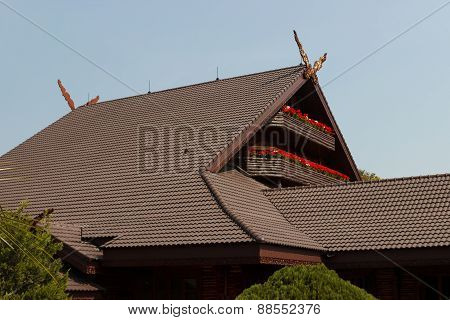 balcony of thailand northern style house