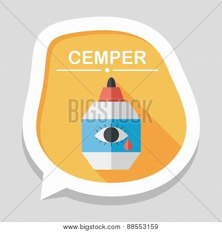Eye Drop Flat Icon With Long Shadow,eps10