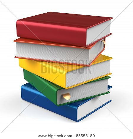 Stack Of Books Blank Covers Colorful School Textbook