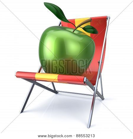 Apple Green Sitting In Beach Chair Beauty Healthy Food Relax
