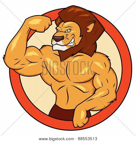 Muscular lion is posing