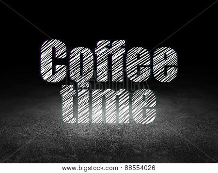 Time concept: Coffee Time in grunge dark room