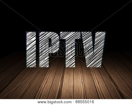 Web design concept: IPTV in grunge dark room