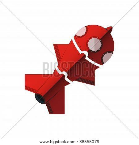 Rocket Divided Into Parts. In The Form Of A Puzzle.
