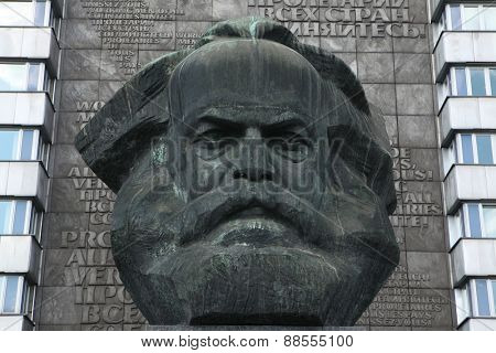 CHEMNITZ, GERMANY - MAY 8, 2012: Karl Marx Monument by Soviet sculptor Lev Kerbel in Chemnitz, Saxony, Germany.