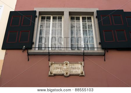 BONN, GERMANY - AUGUST 15, 2012: Commemorative plaque at the Beethoven House where Ludwig van Beethoven was born in 1770 in Bonn, North Rhine-Westphalia, Germany.
