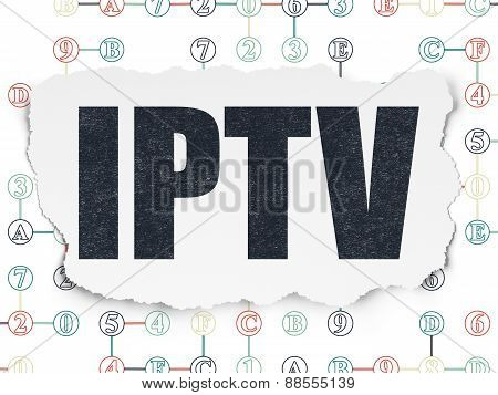 Web design concept: IPTV on Torn Paper background
