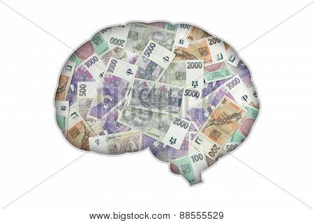 Brain money white background