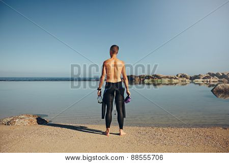 Young Triathlete Preparing For A Race
