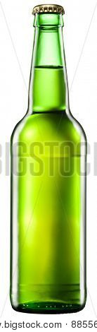 Bottle of beer on white background. File contains clipping paths.